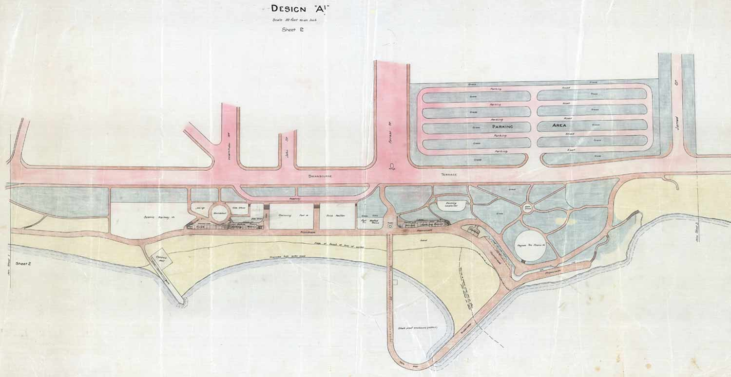 1930 Ewing plan propsed extensive remodelling of the foreshore and a shark proof pool