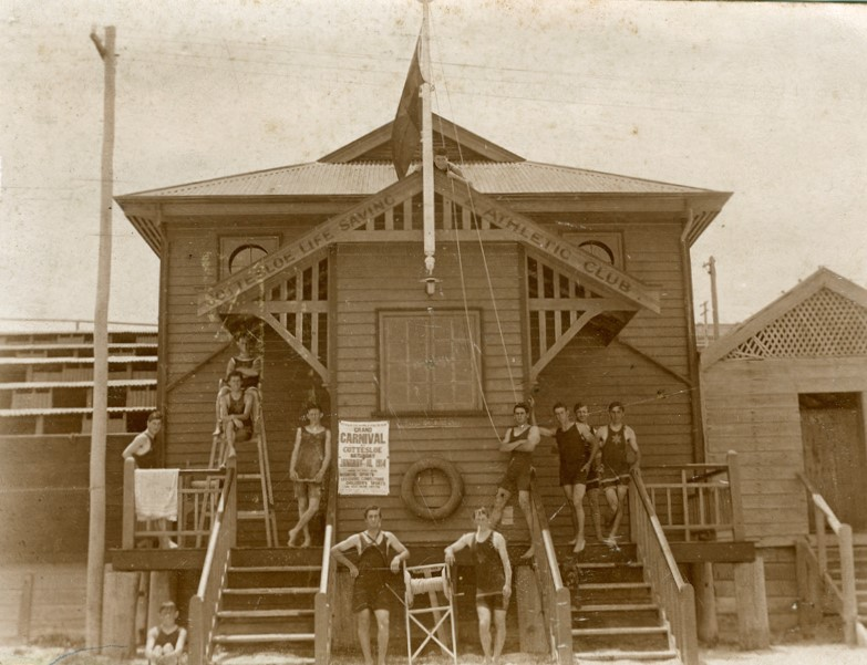 1913. Original clubhouse for the Cottesloe Life Saving and Athletic Club