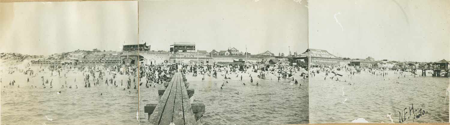 1922 Cottesloe Beach. View from the diving jetty