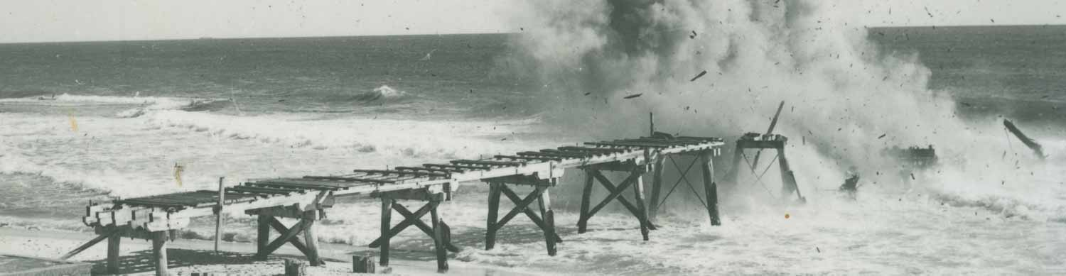 March 1952. The jetty is blown up