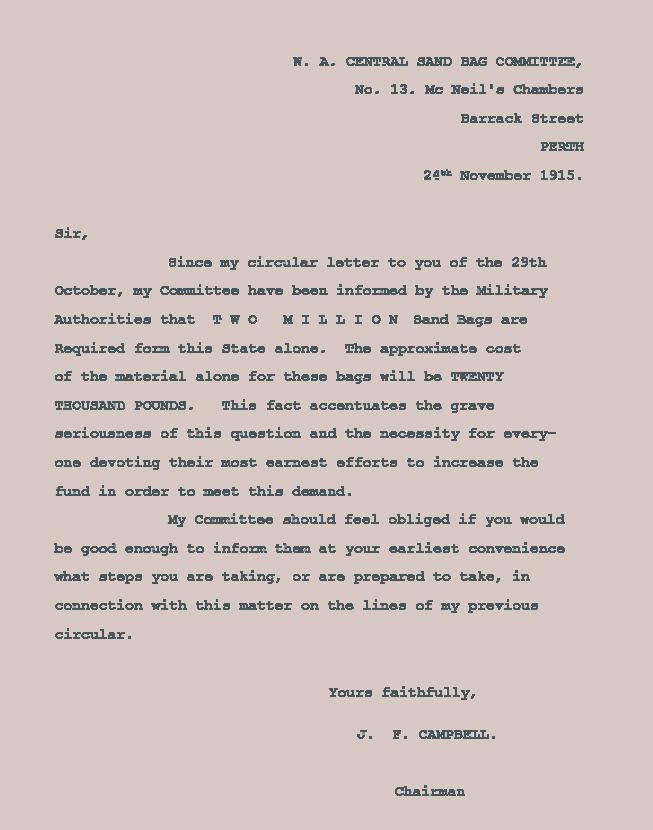 Sand Bag Committee letter 24 Nov 1915